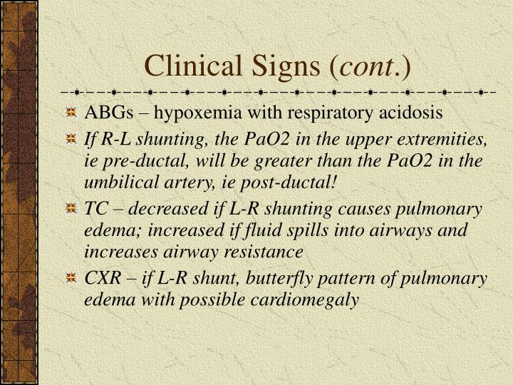 Clinical Signs (