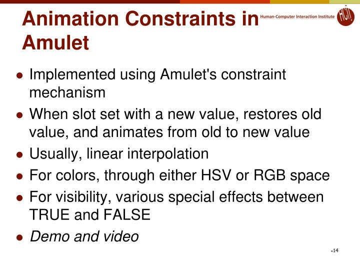 Animation Constraints in Amulet