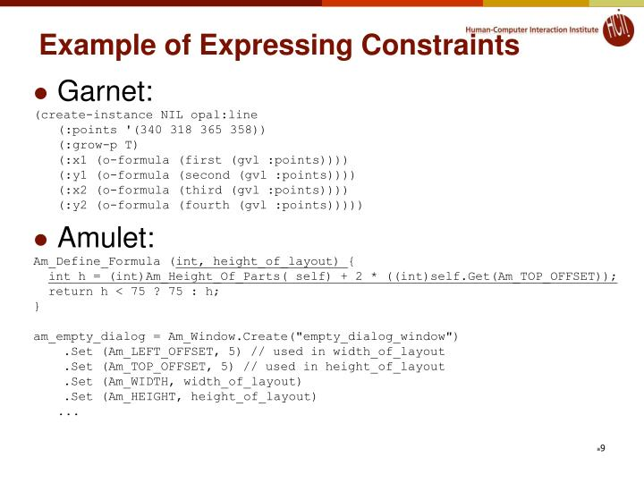 Example of Expressing Constraints
