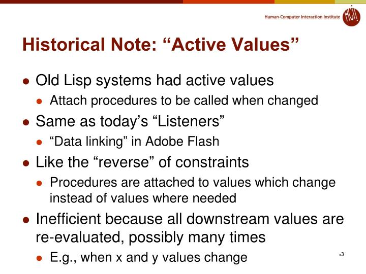 """Historical Note: """"Active Values"""""""