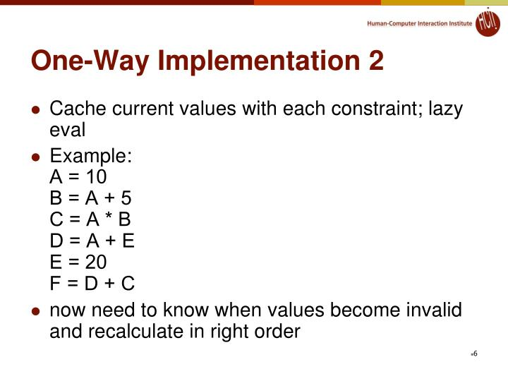 One-Way Implementation 2