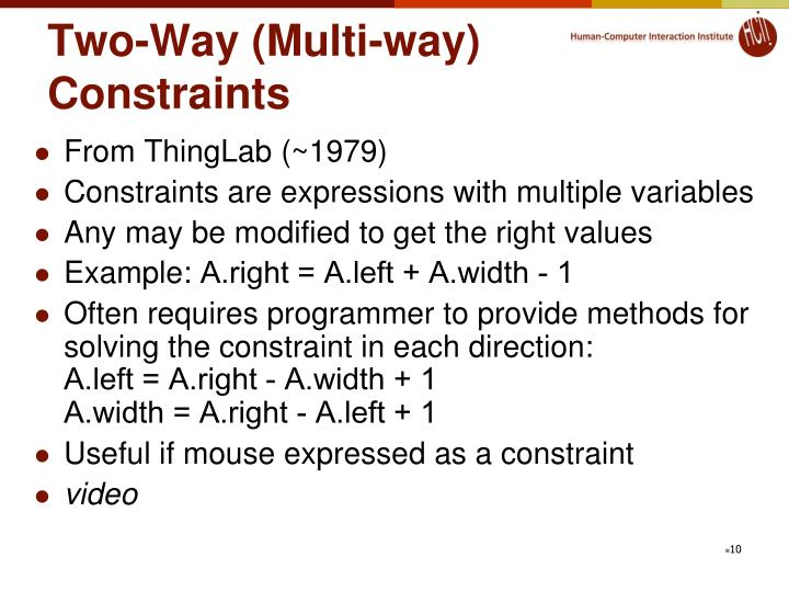 Two-Way (Multi-way) Constraints