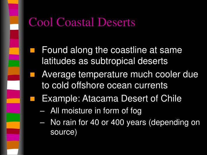Found along the coastline at same latitudes as subtropical deserts