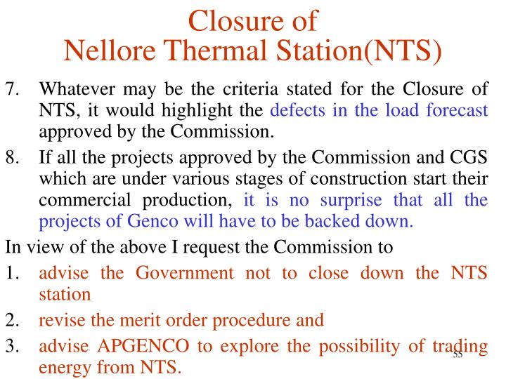 Closure of
