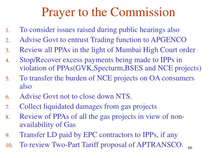 Prayer to the Commission