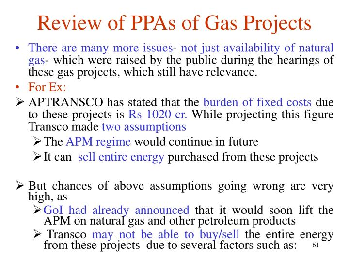 Review of PPAs of Gas Projects
