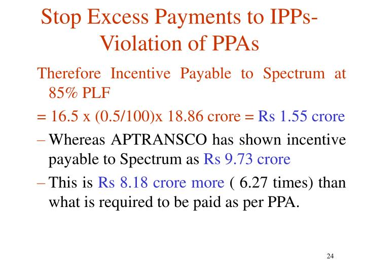 Stop Excess Payments to IPPs- Violation of PPAs