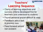 teachers learning sequence