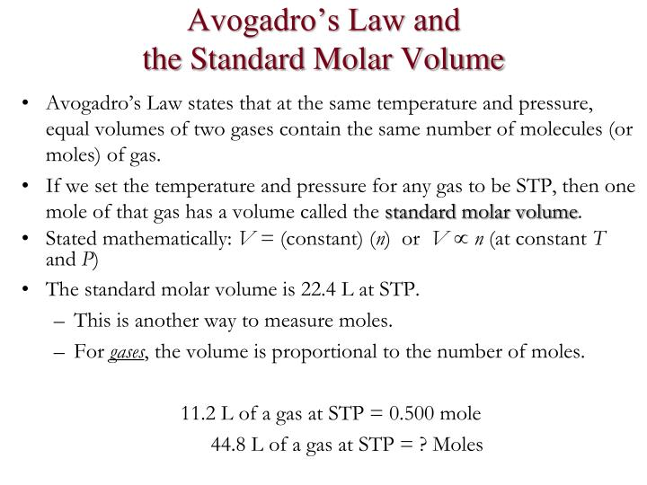 Avogadro's Law and