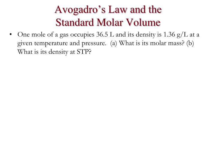 Avogadro's Law and the