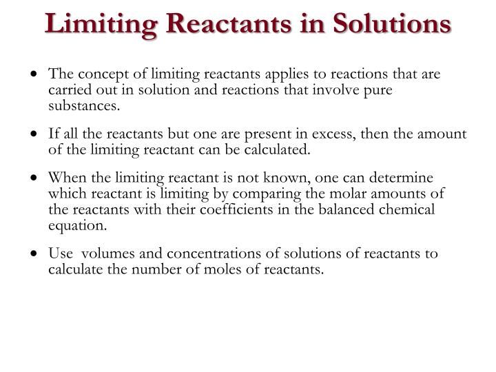 Limiting Reactants in Solutions