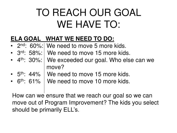ELA GOAL   WHAT WE NEED TO DO:
