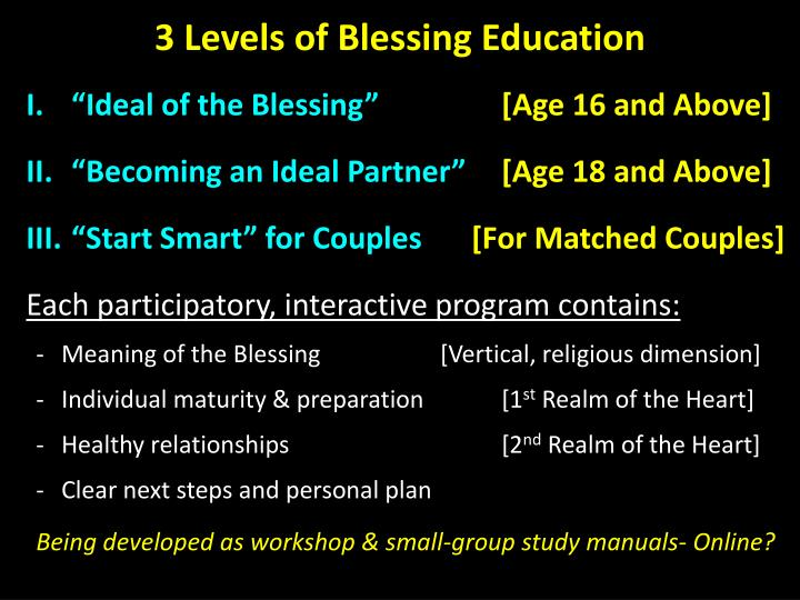 3 Levels of Blessing Education