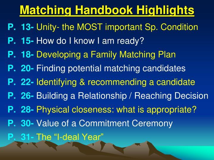 Matching Handbook Highlights