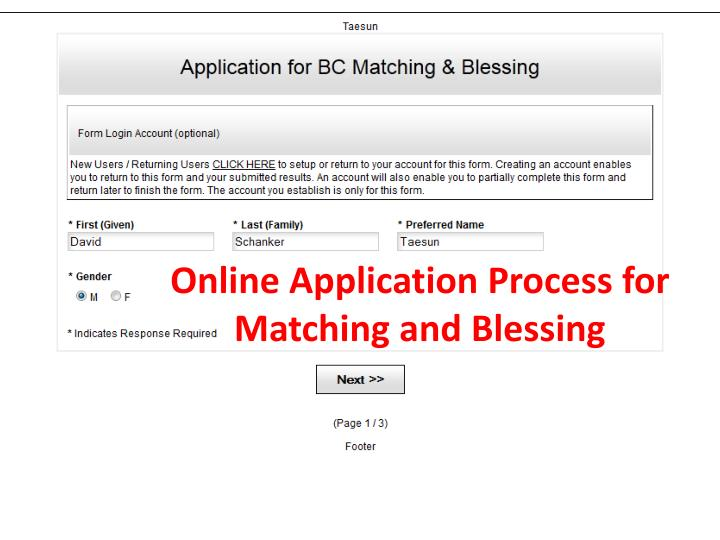 Online Application Process for