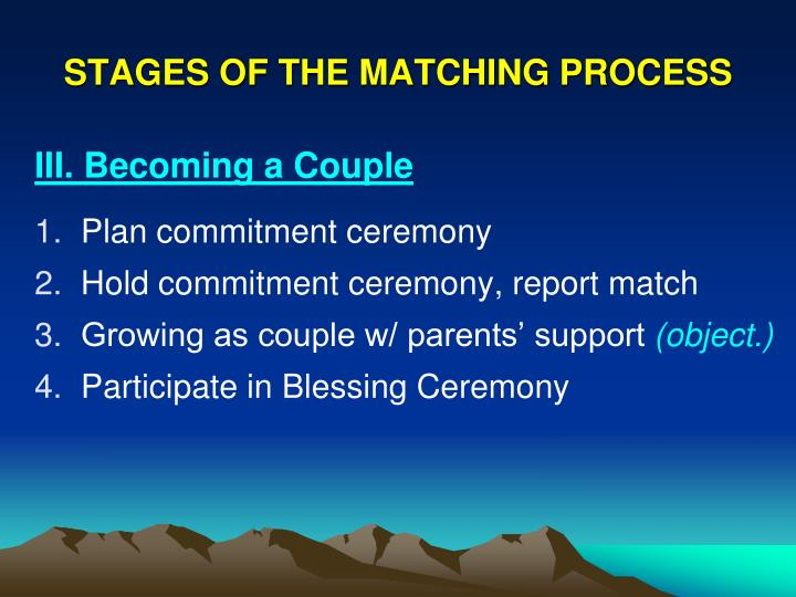 STAGES OF THE MATCHING PROCESS