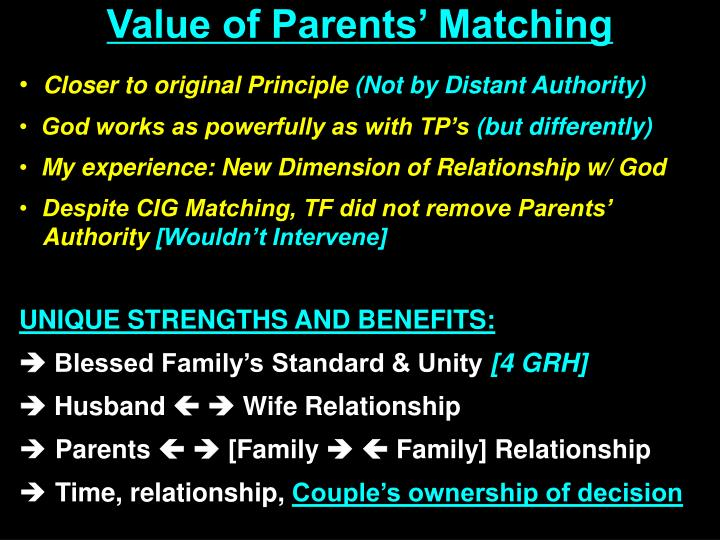 Value of Parents' Matching