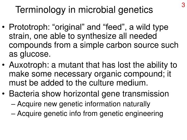 Terminology in microbial genetics