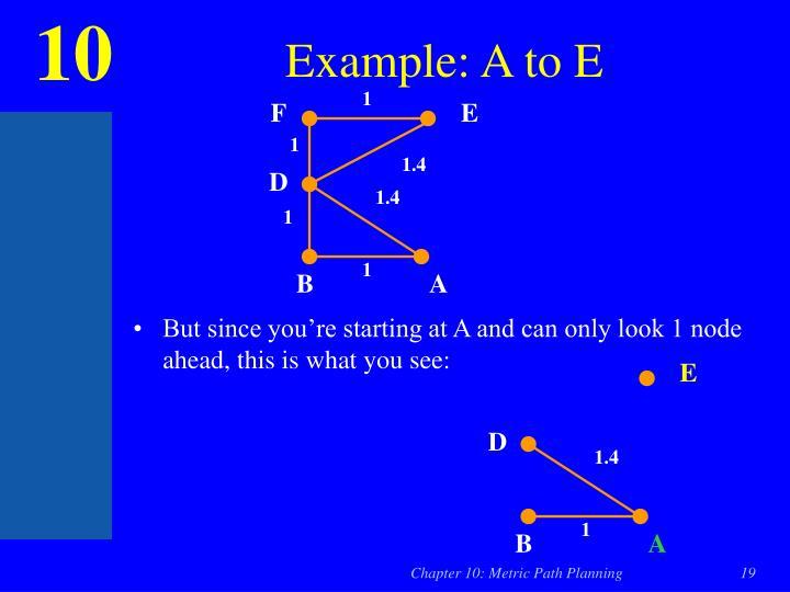 Example: A to E