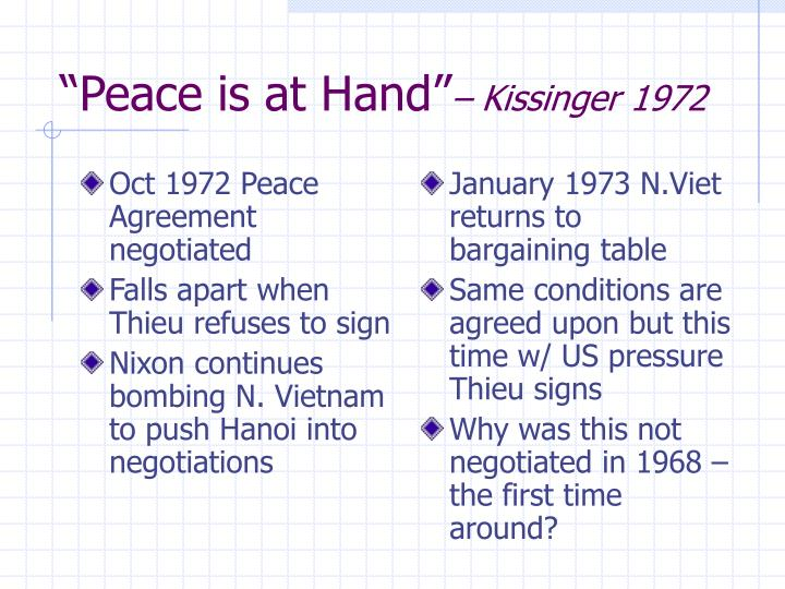 Oct 1972 Peace Agreement negotiated