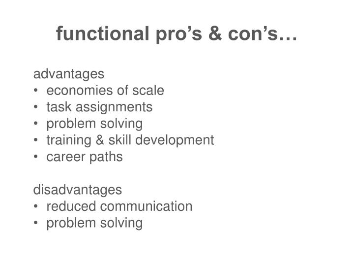 functional pro's & con's…