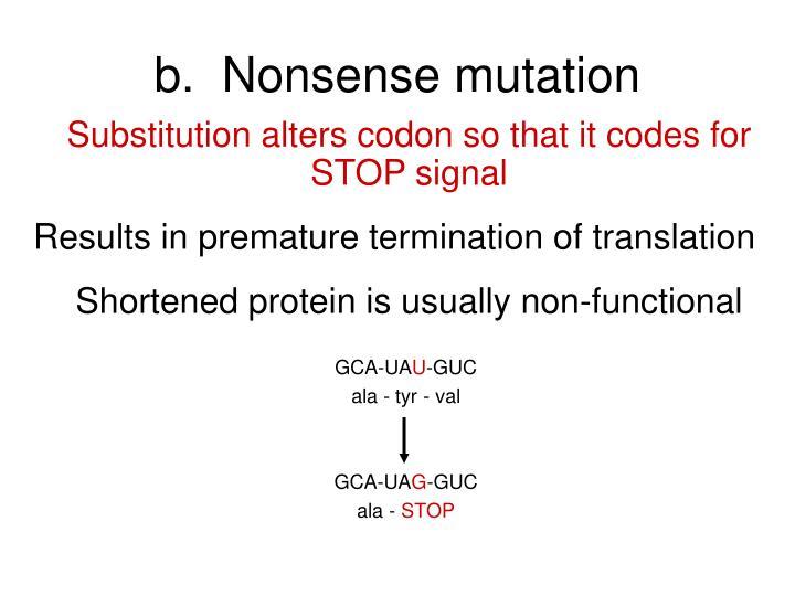 b.  Nonsense mutation