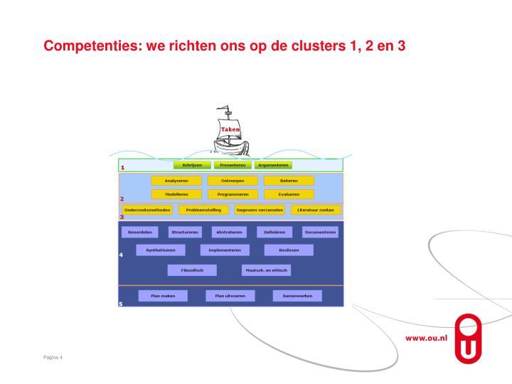 Competenties: we richten ons op de clusters 1, 2 en 3