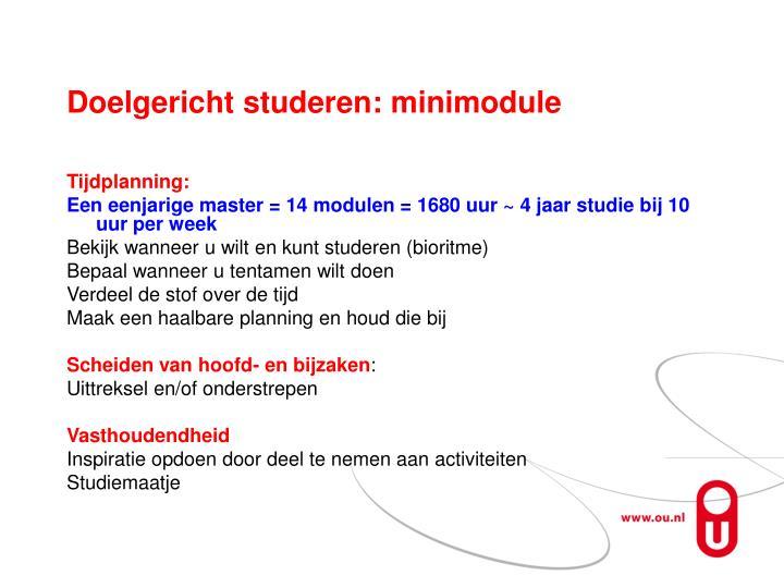 Doelgericht studeren: minimodule