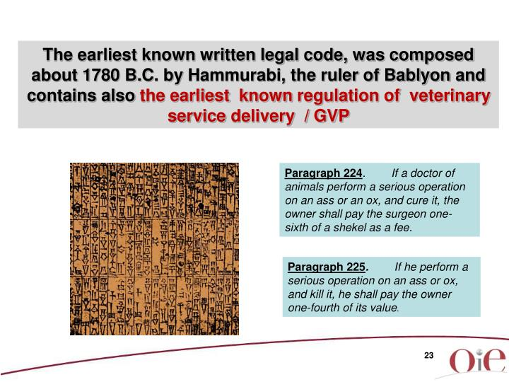 The earliest known written legal code, was composed about 1780 B.C