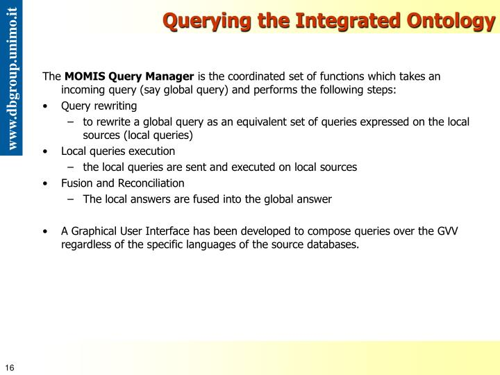 Querying the Integrated Ontology