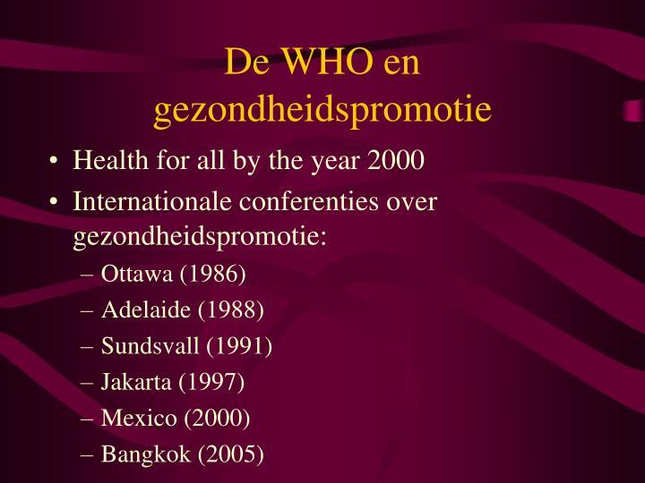 De WHO en gezondheidspromotie