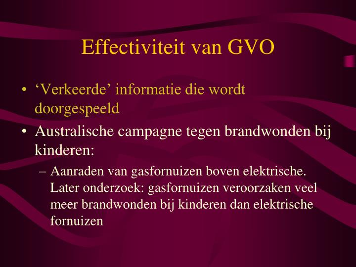 Effectiviteit van GVO