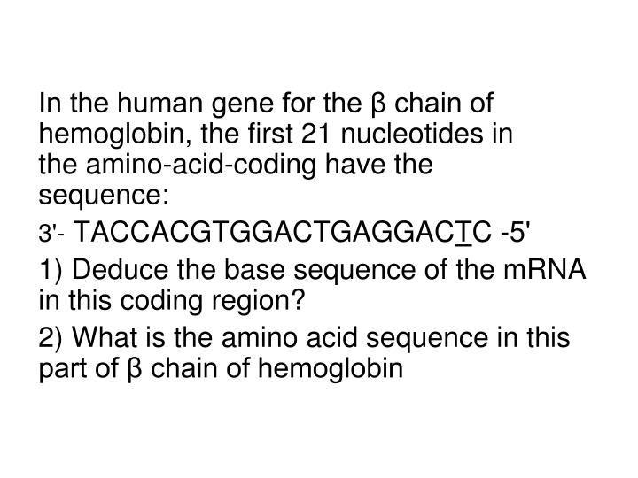 In the human gene for the β chain of hemoglobin, the first 21 nucleotides in the amino-acid-coding have the sequence: