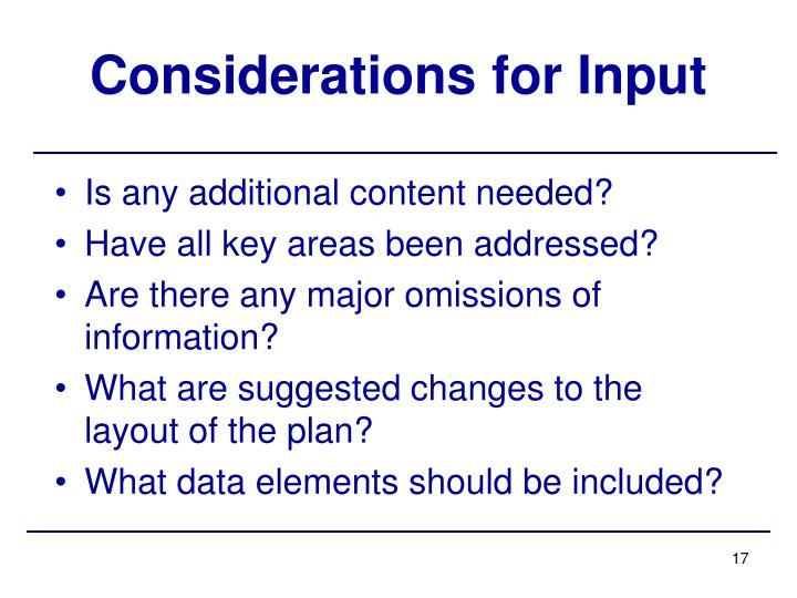 Considerations for Input