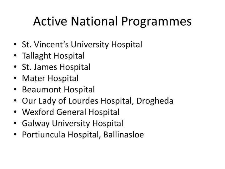 Active National Programmes
