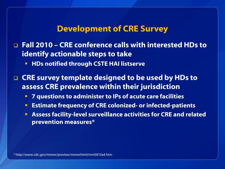 Development of CRE Survey