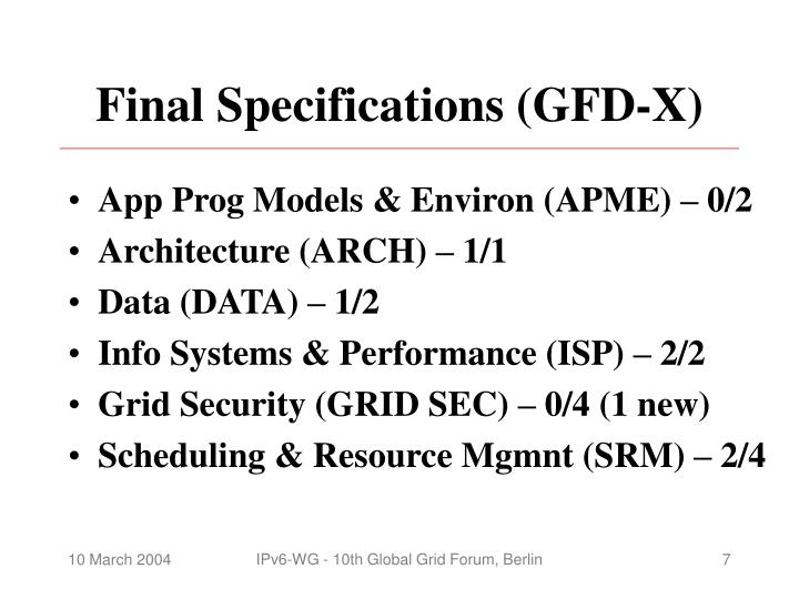 Final Specifications (GFD-X)
