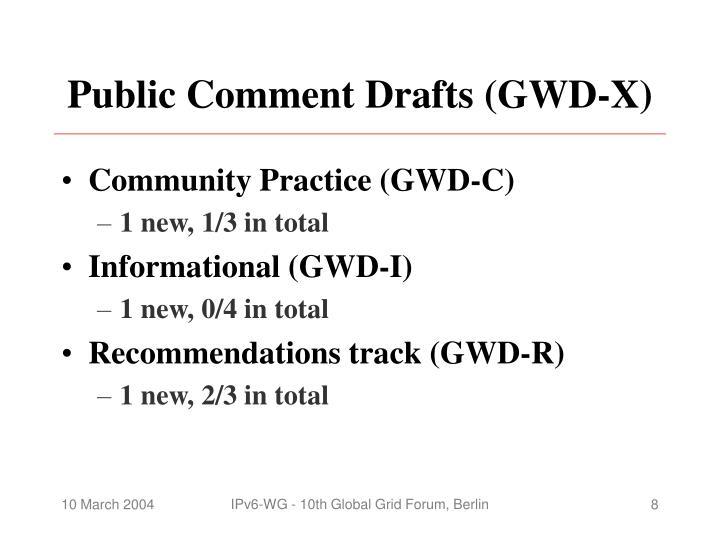 Public Comment Drafts (GWD-X)