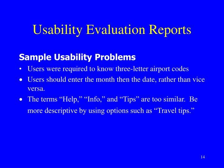 Usability Evaluation Reports