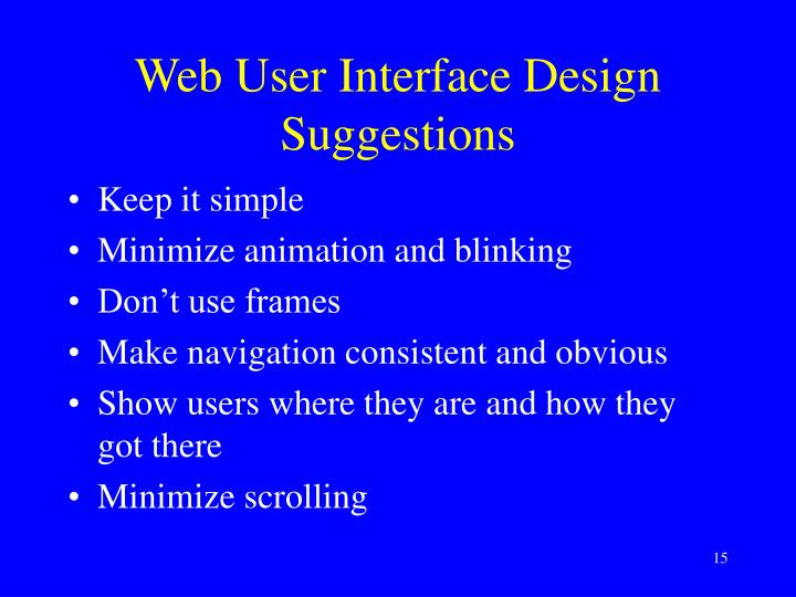 Web User Interface Design Suggestions