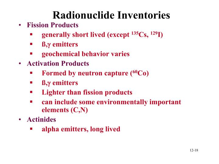 Radionuclide Inventories