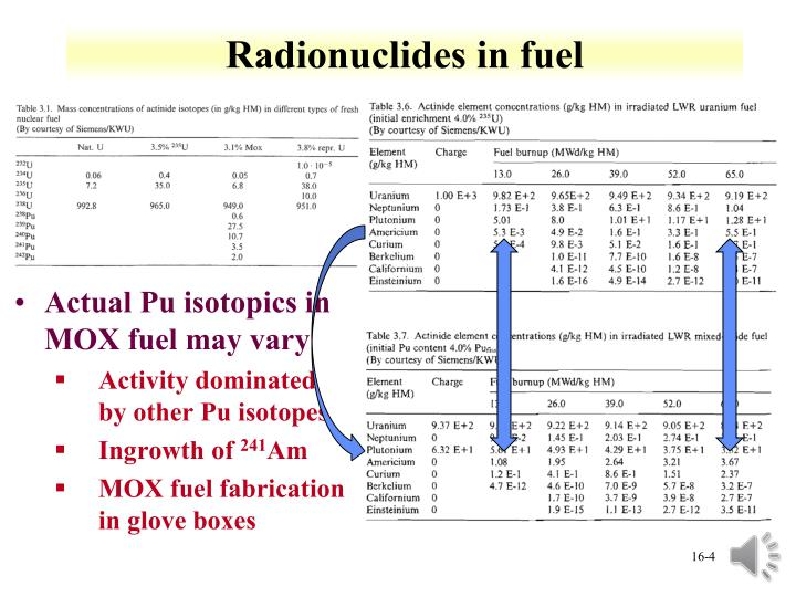 Radionuclides in fuel
