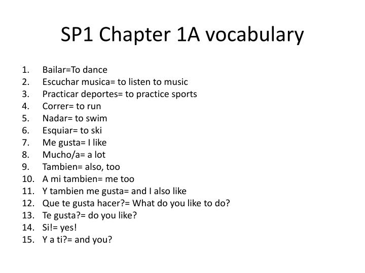 SP1 Chapter 1A vocabulary