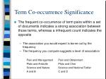term co occurrence significance