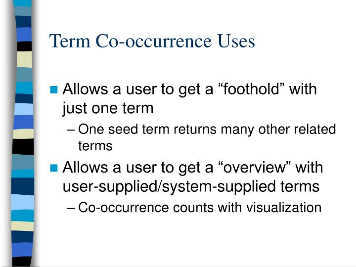 Term Co-occurrence Uses