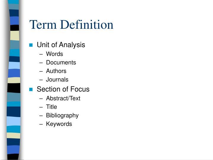 Term Definition