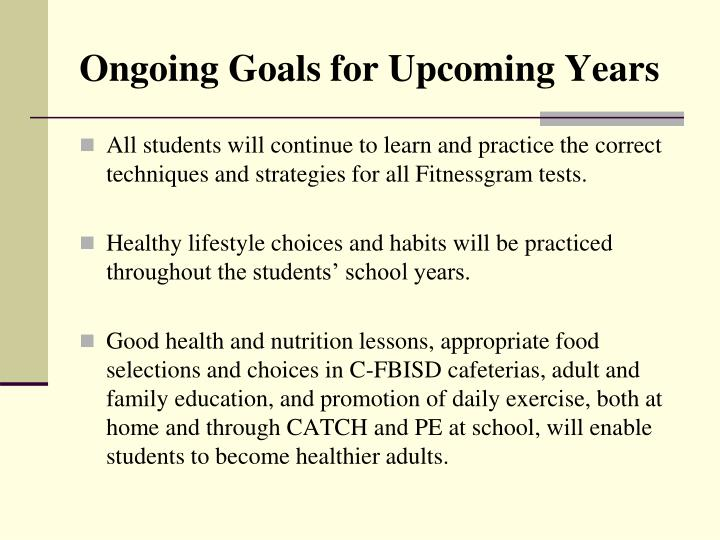 All students will continue to learn and practice the correct techniques and strategies for all Fitnessgram tests.