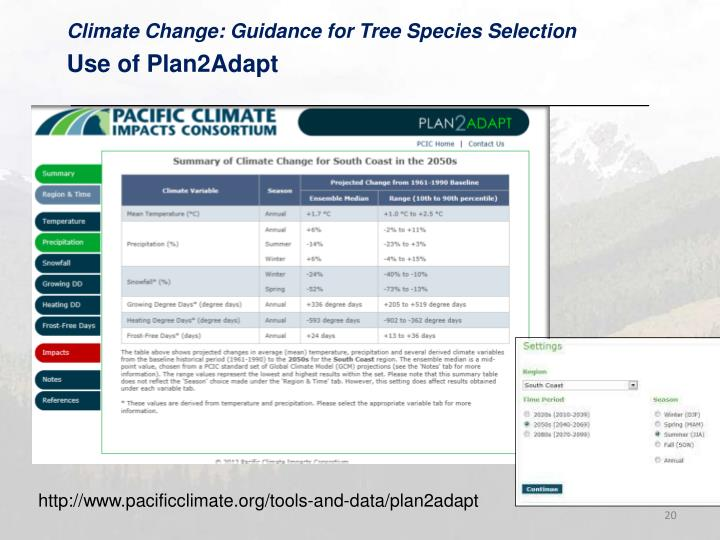 Climate Change: Guidance for Tree Species Selection