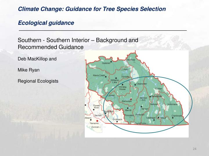 Climate Change: Guidance for Tree Species