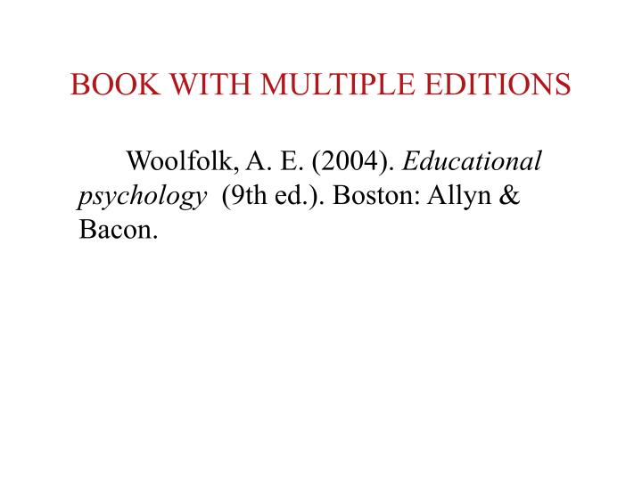 BOOK WITH MULTIPLE EDITIONS